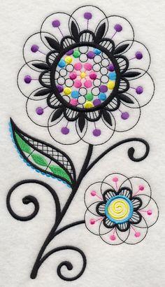 Bubble Gum Blossoms (Blackwork)