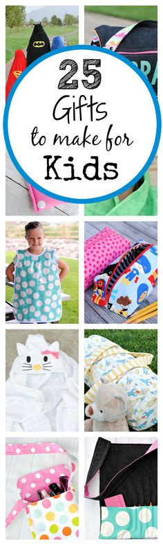 25 DIY Gifts for Kids-These cute handmade gifts are great to make for any occasion-Christmas, birthdays or any time you want a DIY kids gift! gift for kids 25 Cute DIY Gifts for Kids - Crazy Little Projects Easy Sewing Projects, Sewing Hacks, Sewing Tutorials, Sewing Ideas, Simple Projects, Sewing Patterns Free, Free Sewing, Sewing Diy, Sewing Classes For Beginners