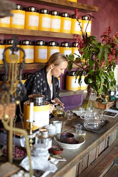 BELLOCQ tea- love the yellow tea caddys