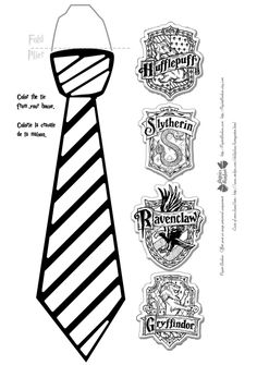 Harry potter glasses and ties with free printable for Harry potter tie template