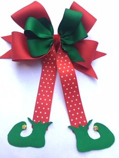 Elf Red and Green Hair Bow – Land of Bows