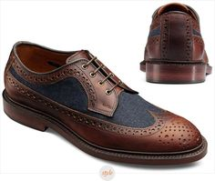 Wingtips with canvas contrast