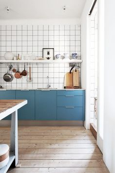 marine blue, tile grid, and wood.