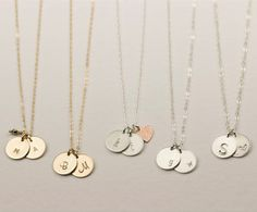Etsy - Layered And Long Personalized Necklace Length: 19in Sterling Silver 3 Discs: J, K, M Font: 3XL uppercase Alignment: centered
