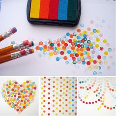 Stamp pad, pencils (with erasers) and paper - DONE! What an awesome and simply quick DIY idea for a valentines day card and any other card or art project.