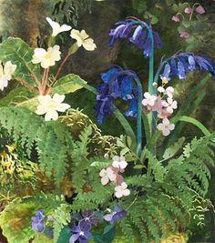 Amanda Richardson - Artist, Mossy Bank with Ladies Smock textile collage