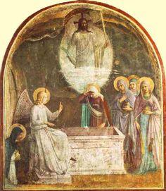 Fra Angelico: Auferstehung Christi und die Frauen am Grab, Fresko, 1440 - 41, im Konvent von San Marco in Florenz