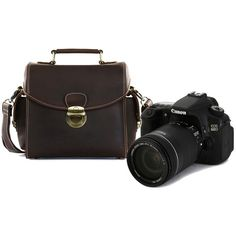 Crazy horse leather brown slr camera satchel bag (295 AUD) ❤ liked on Polyvore featuring men's fashion and men's bags