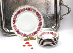 Antique Dessert Plate Set / Pink and Red Roses / by PeriodElegance