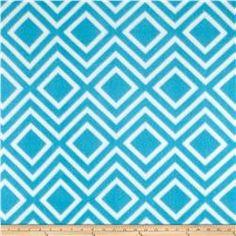 Polar Fleece Print Diamond Tile Turquoise