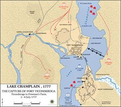 July American Troops Give Up Fort Ticonderoga On Lake - Us map lake champlain