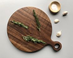 Classic Walnut Wood Cutting Board with Handle, Wood Serving Board, Paddle Board
