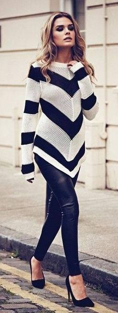 leather pants/leggings + a long white & black chevron sweater + black heels #leather #style #outfit