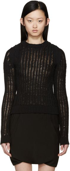 Rick Owens - Black Open Knit Lupetto Sweater