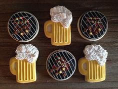 Grill and Beer Sugar Cookies ~ Party Cookies ~ 1 Dozen Custom Cookies Beer Cookies, Pink Cookies, Summer Cookies, Cut Out Cookies, Cute Cookies, Royal Icing Cookies, Cupcake Cookies, Cupcakes, Cookie Tutorials