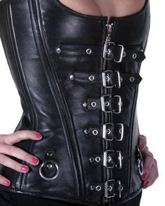 Black Leather Steel Boned Overbust Corset