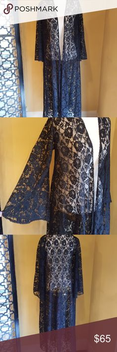 VINTAGE BLACK LACE LONG KIMONO Excellent vintage condition. No flaws.  I am in love with this and have worn it as a kimono, robe and coverup!! 3 in 1.... Beautiful lace. Kimono sleeves.  Fits up to a large.  Bust at 40 inches,  21 inch sleeve from top of the shoulder. 50 inches long. Vintage Accessories Scarves & Wraps