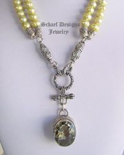 Prasiolite, pearl, & sterling silver signature designer necklace | large prasiolite (green amethyst) solitair pendant | online upscale artisan handcrafted pearl & gemstone jewelry boutique gallery |  Tahitian Pearl Jewelry | Schaef Designs Fine Jewelry San Diego, CA