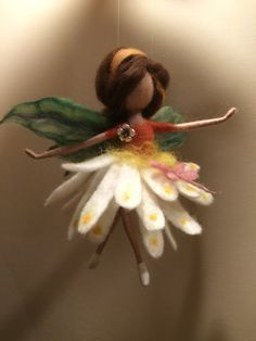 Needle felted Fairy Waldorf inspired Wool Flower by DreamsLab3