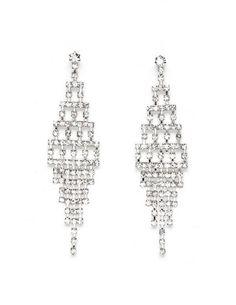 Tiered Diamond Dangle Earrings: Charlotte Russe