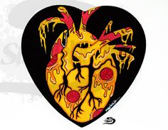 Pizza anatomical heart painting decor - Wall wood sign - Anniversary birthday valentine's day Valentines gift - Pepperoni pizza heart love