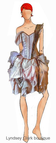 Steampunk nudes/ pale pink palette Victorian corset bustle unique wedding dress / prom Custom MADE TO ORDER/ measure