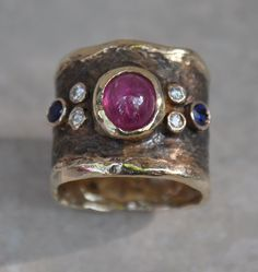 Custom Made Black Byzantine Ring With Ruby, Sapphires And Diamonds
