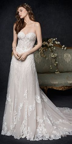 Kenneth Winston Couture 1760 | stunning lace gown | beaded embroidery pattern | sweetheart neckline | romantic wedding gown