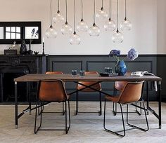 120 Simple and Elegant Bedroom Lamp Installation on Budget Dining Room Inspiration, Interior Inspiration, Inspiration Design, Home Interior, Interior Design, Interior Decorating, Design Industrial, Industrial Dining, Leather Dining Chairs