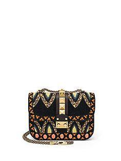 Valentino Rocklock Mini Embroidered Leather Crossbody Bag