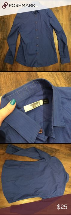 Topman Men's Dark Blue Pin Stripe Button Down Topman Dark Blue Pin Stripe Button Down.  Excellent condition. Topman Shirts Polos
