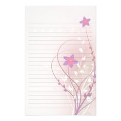 Pretty Soft Pink Flower Elegant Lined Paper Stationery Design  Free Lined Stationery