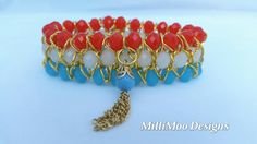 Vibrant Funky Boho Chic 3 Row Gold Chain & Faceted Crystal Bracelet with Tassel Charm,Bohohemian Bracelet,Hippie Bracelet,Summer Bracelet by MilliMooDesigns on Etsy