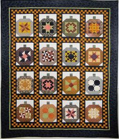Quilt Inspiration: Best of Halloween 2012 Now this would be a fun sampler quilt. This is how I'd make Halloween tolerable Halloween Quilts, Halloween Quilt Patterns, Halloween Sewing, Fall Halloween, House Quilt Patterns, House Quilts, Halloween Table, Patchwork Patterns, Halloween Stuff