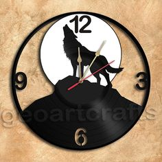 Wolf Silhouette Vinyl Record Clock Upcycled Wall by geoartcrafts