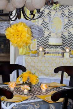 This You Are My Sunshine (Gender Neutral) Baby Shower is beaming with rays of cuteness! Chevron decor, white ruffle cups, polka dot cake, chevron flags & more! Shower Pics, Boy Shower, Shower Party, Baby Shower Parties, Baby Shower Themes, Baby Shower Decorations, Shower Ideas, Chevron Decorations, Shower Cake
