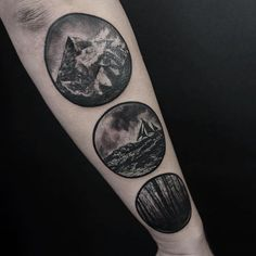 Black tattoo scenic mountains sea sailboat forest trees circles