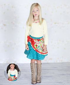 Loving this Blue Amanda Skirt Set & Doll Outfit - Infant, Toddler & Girls on #zulily! #zulilyfinds