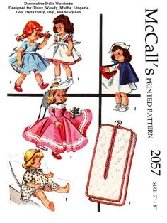 Mccalls 2057, for 7 to 8 inch dolls, such as lingerie lou, dally dolly, gigi, etc. reproduced pattern