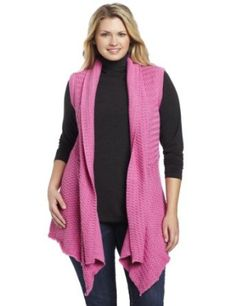Pure Handknit Women's Eco Waterfall Tunics Vest, Craft Pink, 2X Pure Handknit. $113.00