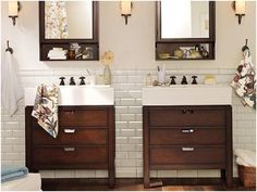 Half bath: white subway tile and dark vanity