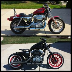 """Bloody Mary"" Rat Rod Bobber Before & After. 2004 Harley-Davidson Sportster 883. See the build here: https://www.facebook.com/BobberBuilds"