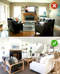 15 Living Room Design Mistakes - Low ceilings with dark furniture. Wood Furniture Living Room, Living Room Wood Floor, Living Room Furniture Arrangement, Dark Furniture, Antique Furniture, Outdoor Furniture, Office Furniture, Dark Living Rooms, Living Room Colors