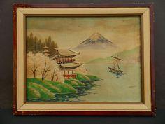Vintage Framed Japanese Hand Embroidered Woven от LotusInTheWind
