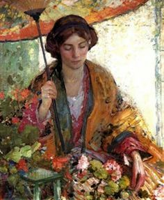 "artist Richard Edward Miller: ""an American Impressionist painter and a member of the Giverny Colony of American Impressionists. Miller was primarily a figurative painter, known for his paintings of women posing languidly in interiors or outdoor settings. Art And Illustration, Illustrations, Art Amour, Arte Fashion, American Impressionism, Umbrella Art, Inspiration Art, Figure Painting, Oeuvre D'art"