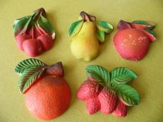 Set of 5 Vintage Chalkware Fruit Cherries Orange by MadGirlRetro