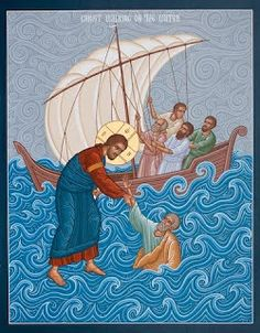 "Beholding Jesus lifts us to extraordinary levels in life. Whenever we sink down Jesus immediately raises us again. Matthew ""Then Peter got down out of the boat, walked on the water and came toward Jesus. when he saw the wind, he was afraid and, b Religious Images, Religious Icons, Religious Art, Byzantine Icons, Byzantine Art, Jesus Walk On Water, Water Icon, Biblical Art, Orthodox Christianity"