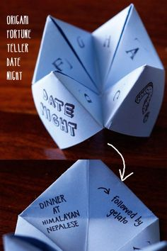 origami fortune teller to choose your date night (also the perfect 'gift' when you can't think of a gift) #diy #gift