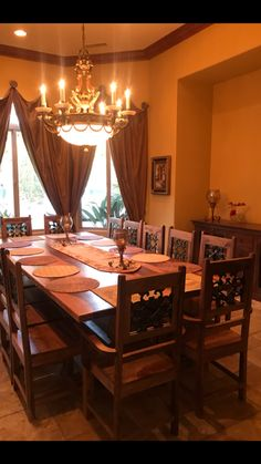A Custom Made Oversized Dining Table With Matching Chairs And Sideboard Anotherhycustomer Rustichomesango Rustic Home