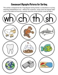 33 FREE colorful digraph pictures for sorting activities. Great for small group intervention or whole group sorting to display in classroom Kindergarten Language Arts, Kindergarten Literacy, Early Literacy, Literacy Centers, Abc Centers, Phonics Reading, Teaching Reading, Teaching Ideas, Teaching Time